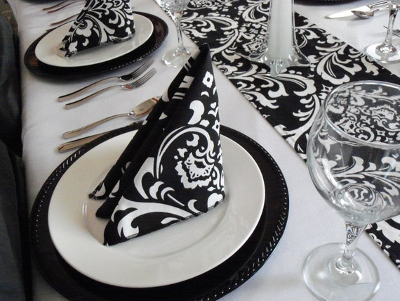 Black and White Napkins Floral Damask Napkins Wedding Table Centerpiece Black Fabric Linens Home Decor