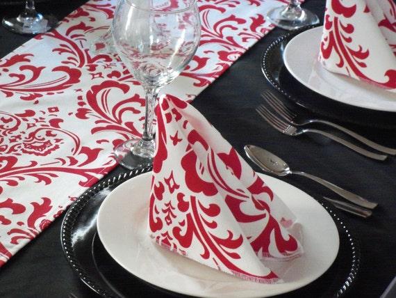 Red Napkins Floral Damask Wedding Table Centerpiece Napkins Set Floral Linens Cloth Napkin Set Reception Shower