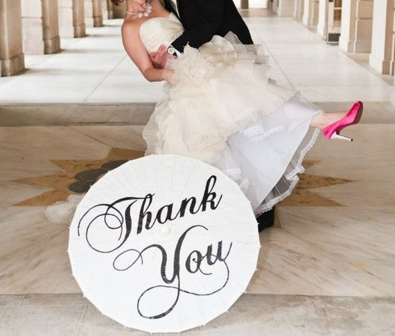 Wedding Personalized Custom Thank You Parasol Hand Painted Umbrella Photo Prop Modern White Ivory Parasol Decor Ceremony Pictures Sale