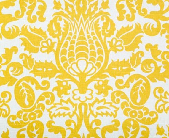 Alfa img showing gt yellow and white damask fabric