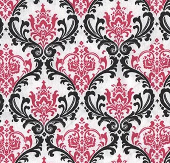 Damask Curtain Panels Fuchsia Hot Pink Black By
