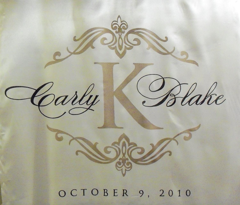 Monogram Fabric Aisle Runner Wedding Personalized Hand Painted