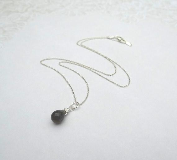 Tiny Grey Moonstone Necklace, Dark Grey Moonstone Briolette on Sterling Silver