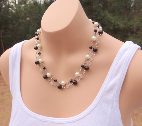 Glass Pearl Necklaces, Vintage Style Black and White