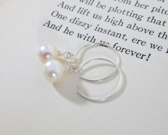 Classic Pearl Earrings, Creamy White Pearl Dangle Earrings on Sterling Silver
