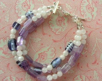 SOLD Amethyst 3 Strand Bracelet