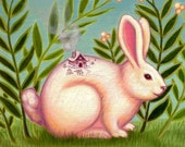 Nursury room art decor print  on somerset velvet Snow Bunny by Marisol Spoon