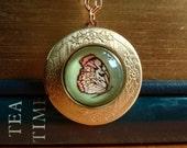 Butterfly brass locket necklace monarch butterfly pendant art locket vintage woodland jewelry wearable art Bright Forest by marisol Spoon