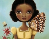 Oil painting print Girl, honey bee, butterfly - Maya print on premium matte - woodland art by Marisol Spoon