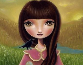 art print Raven crow big eyed girl bird print dawn dusk snow white valley pond mountains feild sun and moon by Marisol Spoon