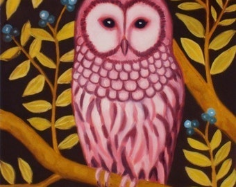 Pink owl Art print night owl forest blue berries branch green leaves-  premium matte paper Lady Owl by Marisol Spoon