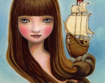 art print Nautical big eye girl ship blue painting wall art girls room decor - 8x10 premium matte - mermaid, siren, and sea by Marisol Spoon