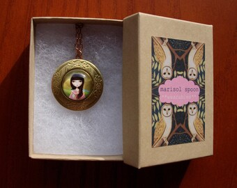 brass locket necklace Big eye girl art Raven crow pendant chain- vintage style locket with girl and raven by Marisol Spoon