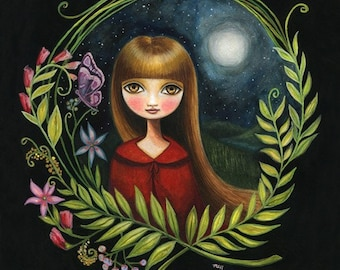 Woodland girl - Lost in the Wildwood LARGE 13x19 print on Somerset Velvet - little red riding hood inspired art by Marisol Spoon