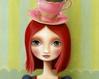 Girl, teacup, schooner - Long Trip To Tea Time- LARGE print 11x14 on premium matte - alice in wonderland inspired art by Marisol Spoon