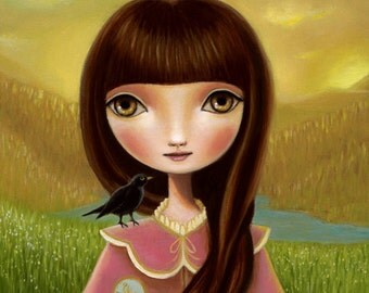 art print Girl and raven crow sun and moon - LARGE print 11x14 premium matte - woodland painting art by Marisol Spoon