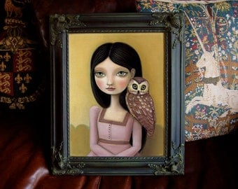 Framed Owl art print big eyed girl portrait fawn owl fox hare - 11x14 frame - painting -  fairytale pop surrealism  by Marisol Spoon