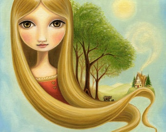 nursery art Girl and bear print woodland bears print goldilocks rapunzel 8 x 10 fairytale art Autumn on Yellow Mountain by Marisol Spoon