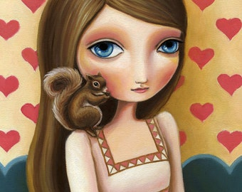 Girl and squirrel art poster heart print big eyed girl blue eyed brown hair LARGE 11x14  print vintage inspired art Greta by Marisol Spoon
