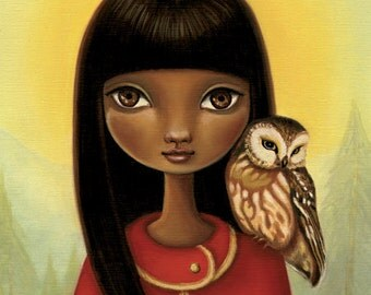 8x10 Girl and owl art  - Tia print on premium matte paper - Woodland fairytale art by Marisol Spoon