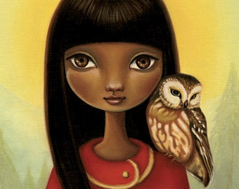 Girl and owl art  - Tia LARGE print 11x14 on premium matte - woodland pop surrealism by Marisol Spoon