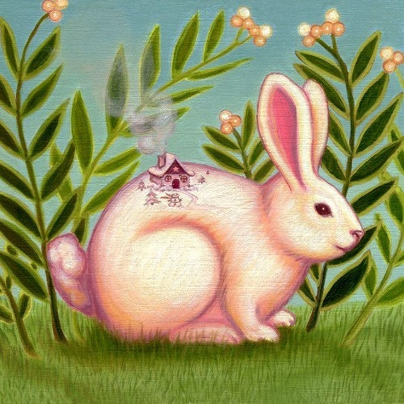 Nursury room art decor print  on somerset velvet Snow Bunny by Marisol Spoon