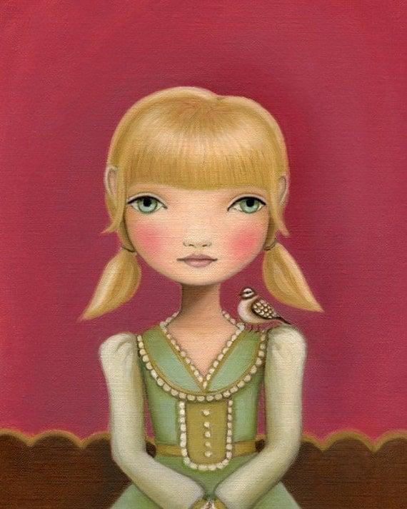art Bird print sparrow big eye Girl pink and green girls room decor - Emma print on premium matte paper by Marisol Spoon