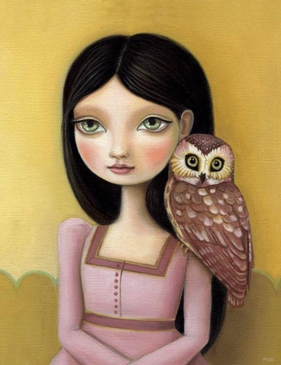 Girl and owl art print green big eyes brunette pink dress black hair LARGE print 11x14 woodland pop surrealism Evelyn by Marisol Spoon