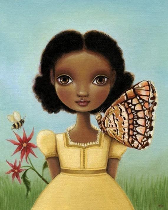 Oil painting print Girl, honey bee, butterfly - Maya print on premium matte - woodland art by Marisol Spoon