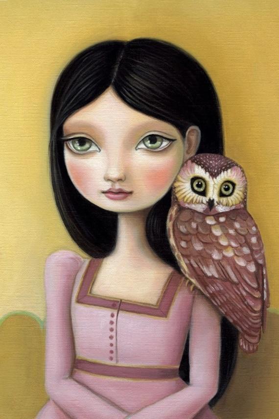 Owl art big eye girl - Evelyn 13x19 LARGE print on somerset velvet woodland pop surrealism by Marisol Spoon