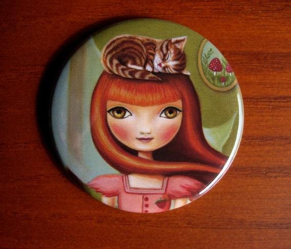 art Pocket mirror redhead big eye Girl cat mushrooms bridesmaid gifts Abigail small mirror by Marisol Spoon