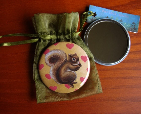 pocket mirror Little Squirrel hearts  bridesmaid gifts vintage inspired woodland mirror by Marisol Spoon