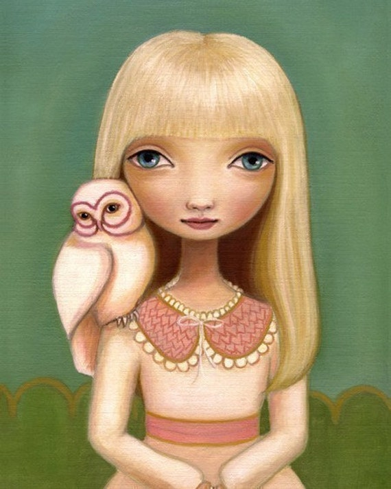 Girl owl art owl illustration print 8x10 pink dress green yellow dream woodland pop surrealism Elsa by Marisol Spoon