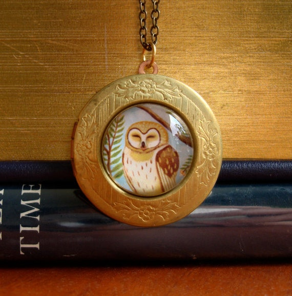 Owl necklace locket