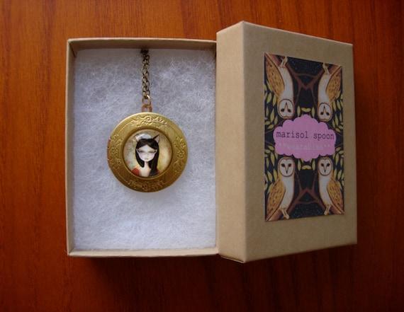 brass locket cateye glasses necklace big eye girl vintage pendant inspired locket pop surrealism portrait by Marisol Spoon