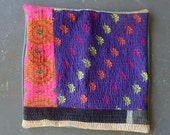 """Quilted Antique Kantha Throw Pillow Cover w Teal Back 22"""""""