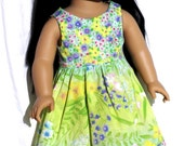 Kathy Order - Soft Green and Yellow Floral Print DOLL DRESS with Hair Clip Bow