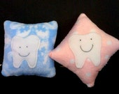 TOOTH FAIRY PILLOW - choice of Blue or Pink - 6 in x 6 in