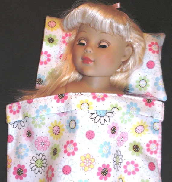 Doll Bed 5 piece Blanket, Pillow with Insert and Decor Pillows for 18 in dolls ie American Girl