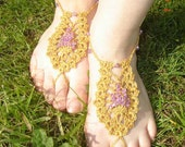 Gold and Amethyst- Pineapple Barefoot Sandal