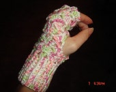 Lacy Fingerless Gloves- Raspbery and Lime
