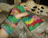 Lacy Fingerless Gloves- Fern Rose Jacquard
