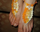 """Varigated Yellows with """"Crystal"""" beading- Pineapple Barefoot Sandals"""