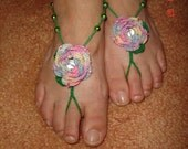 """Multi Colored Rose with Crystal Center and Green Beaded """"Stems"""" Barefoot Sandals"""