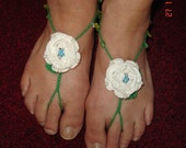"""Something Blue, White Rose with Blue Crystal Center and Green Beaded """"Stems"""" Barefoot Sandals"""