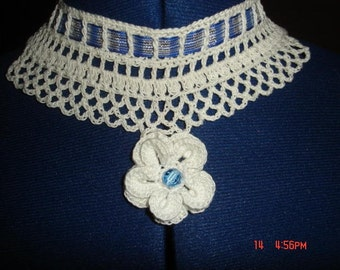 Blue/Silver Irish Crochet Inspired Necklace