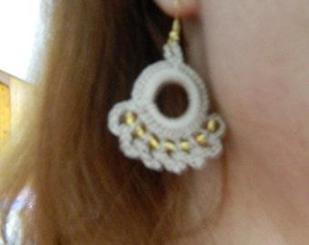 Linen and Gold Beaded Earrings