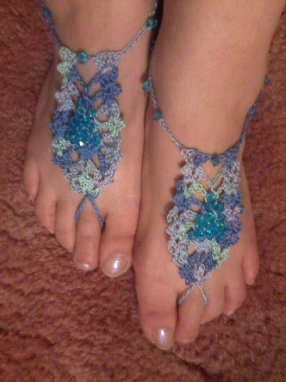 Ocean with Blue Beads- Pineapple Barefoot Sandals
