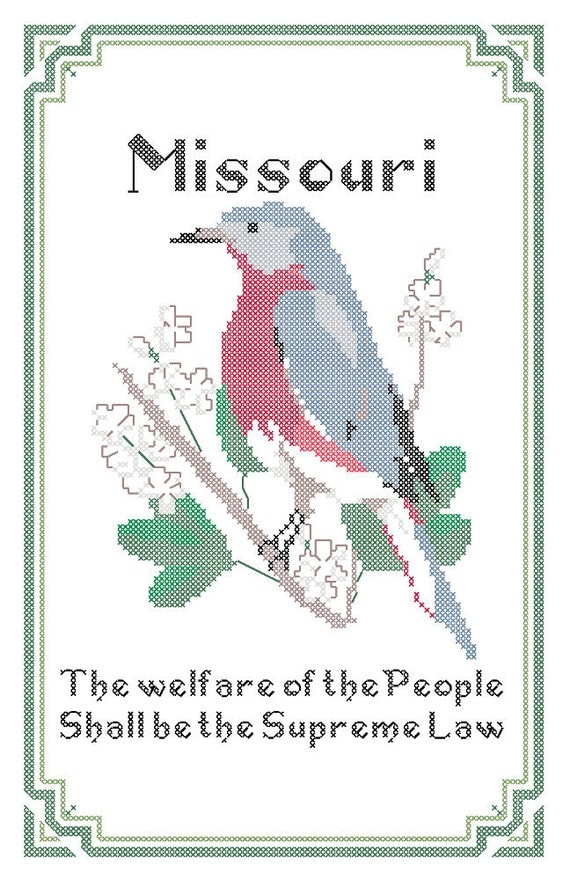 Missouri State Bird Flower and Motto Cross Stitch by robinsdesign