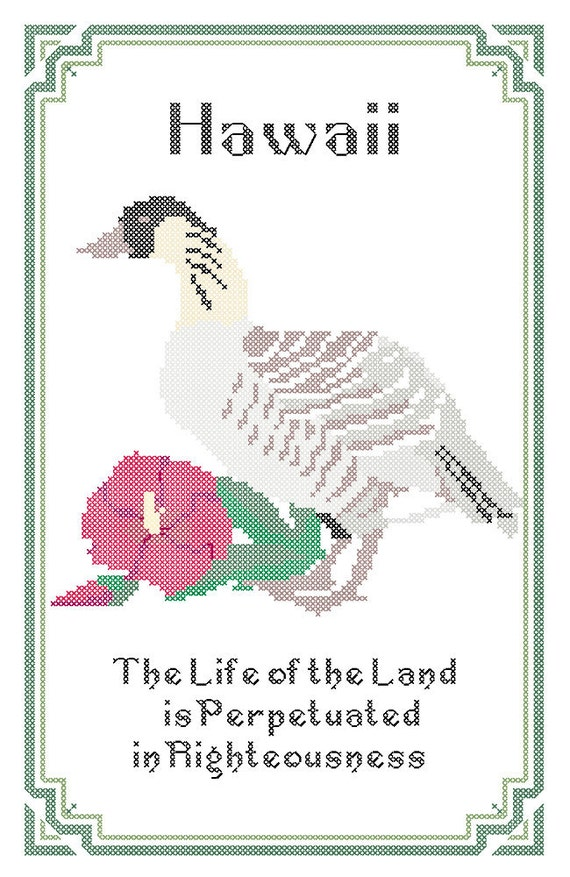 Hawaii State Bird Flower and Motto Cross Stitch by robinsdesign